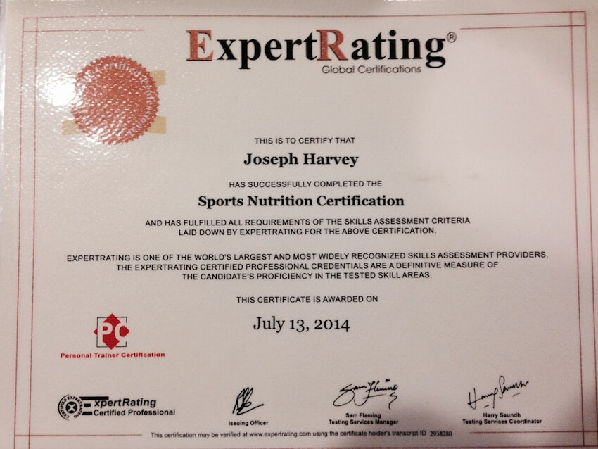 Certified Sports Nutritionist Certificate