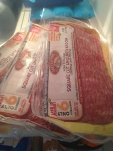 bacon in the freezer